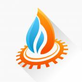 Vector symbol fire with gear Orange and blue flame glass icon w