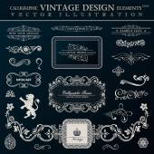 Calligraphic heraldic decor elements Vector vintage frameworks black