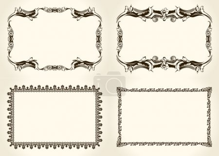 Vector frameworks set. Ornate and vintage design elements