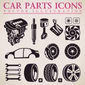 Car parts vector set Service icons Engine wheel transmission