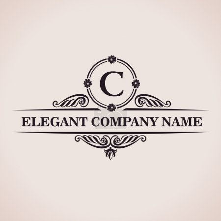 Illustration for Luxury logo. Calligraphic pattern elegant decor elements. Vintage vector ornament C - Royalty Free Image