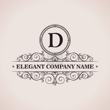 Illustration for Luxury logo. Calligraphic pattern elegant decor elements. Vintage vector ornament D - Royalty Free Image