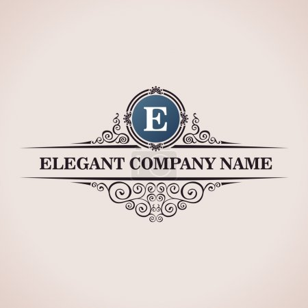Illustration for Luxury logo. Calligraphic pattern elegant decor elements. Vintage vector ornament E - Royalty Free Image