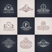 Luxury logo set Calligraphic pattern elegant decor elements Vintage ornament