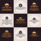 Luxury logo set Calligraphic pattern elegant decor elements Vintage vector ornament