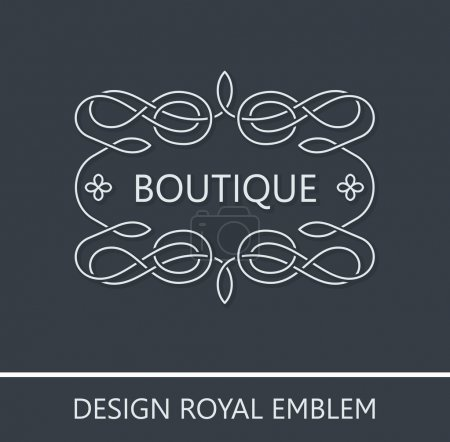 Calligraphic Luxury logo. Emblem ornate decor elements. Vintage