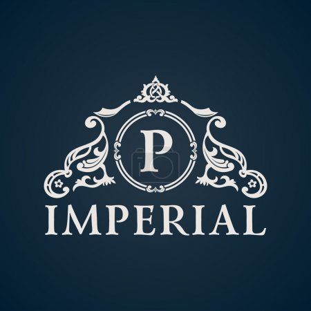 Calligraphic Vintage emblem. Imperial art ornate d...