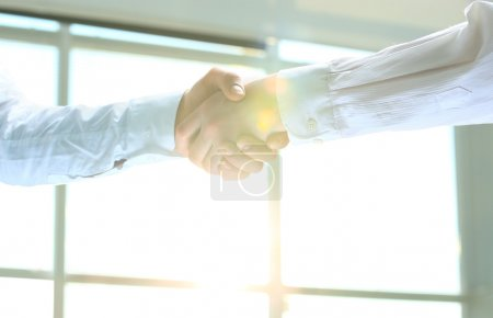 Business handshake. Morning at the office