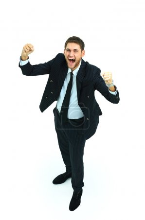 Happy businessman isolated on white with arms outstretched