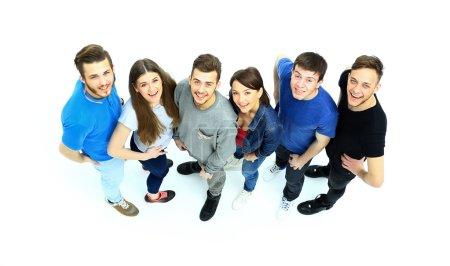 Photo pour Groupe occasionnel de personnes heureuses isolées sur blanc - image libre de droit