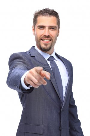 business man pointing his hand up