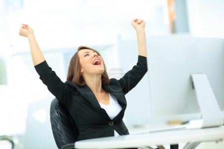 Photo for Portrait of happy young successful businesswoman celebrate something with arms up - Royalty Free Image