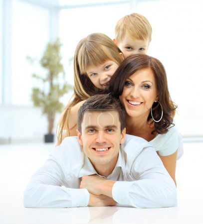 The pyramide of the smiling happy family