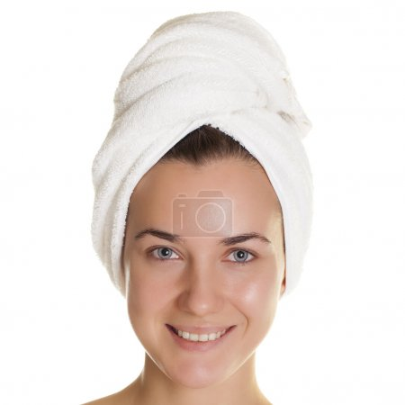 Portrait of a bared beautiful woman getting ready for the spa tr