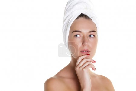 Beautiful Happy Spa Girl Isolated on a White Background