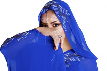 Photo for Young traditional Asian Indian woman in indian blue sari, isolated on white background - Royalty Free Image