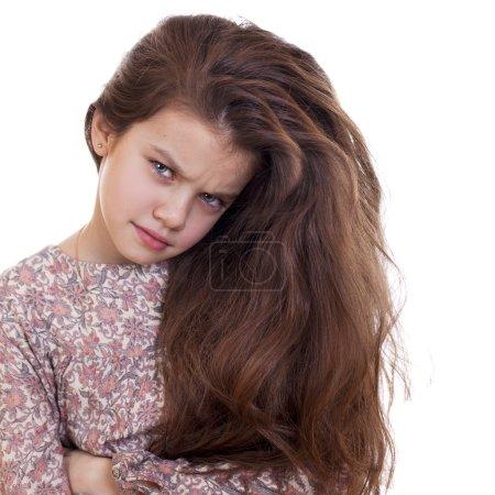 Photo pour Portrait de belle petite fille, studio sur fond blanc - image libre de droit