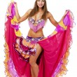 Beautiful carnival dancer, isolated on white backg...