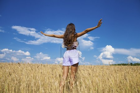 Sexy young woman in blue shorts in a wheat golden field