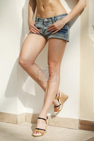 Female body part denim jeans shorts...