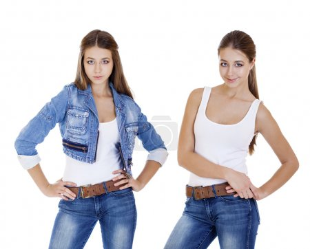 Collage, young girls in blue jeans