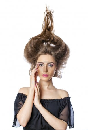 Hair up, Young beautiful woman with trendy glamorous hairstyle