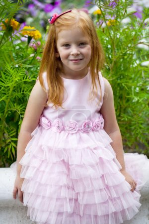 Close up, portrait of little red headed girl