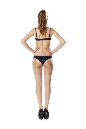 Beautiful full body brunette beauty woman in sexy underwear