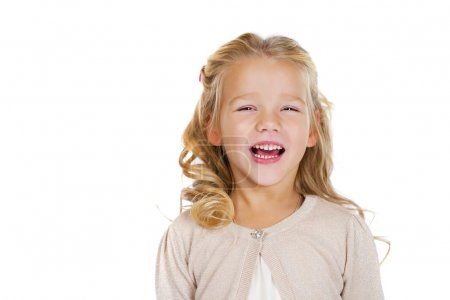 Photo for Portrait of beautiful little girl, studio on white background - Royalty Free Image
