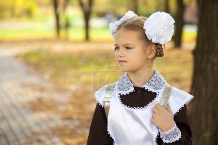 Portrait of a beautiful young first-grader in a festive school u