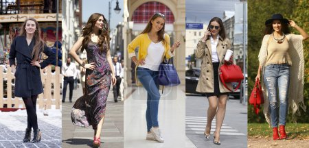 Collage five fashion young women