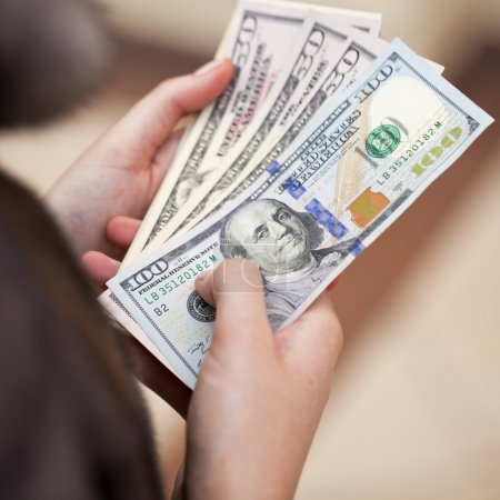 American money in female hand