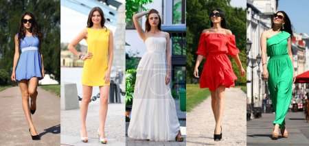 Photo for Collage of five beautiful models in colored summer dresses, outdoors street fashion - Royalty Free Image