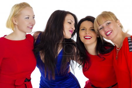 Photo for Group of four sexy, beautiful young happy women. Isolated on white background - Royalty Free Image