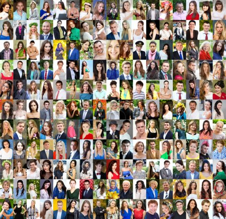 Collection of different caucasian women and men