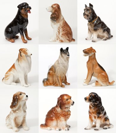 Collage of ceramic statues of dogs