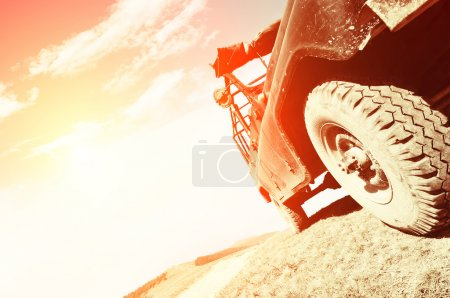 Offroad car on road