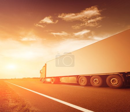 Photo for The truck on asphalt road motion blur - Royalty Free Image
