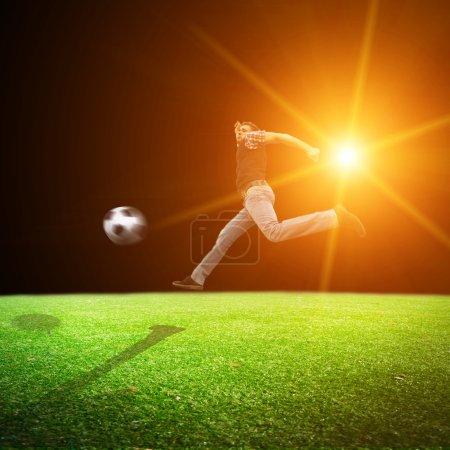 Football player at  soccer  stadium