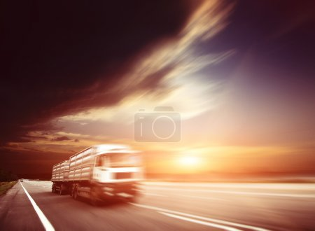 Photo for Modern Semi Truck in Motion. - Royalty Free Image