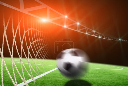 soccer field with net and ball