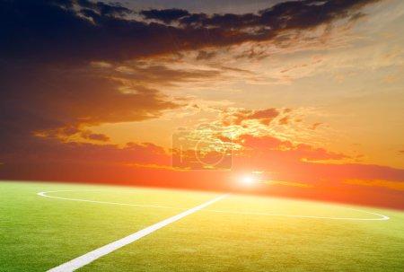 soccer field on sunset