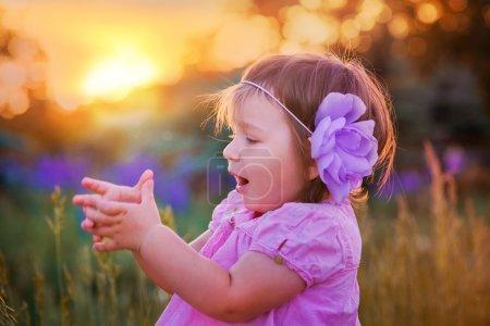 Little girl in a field