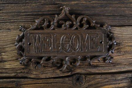 welcome monogram inscription