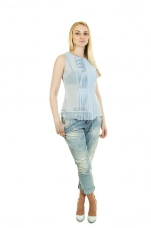 Young woman in trendy  t-shirt and jeans