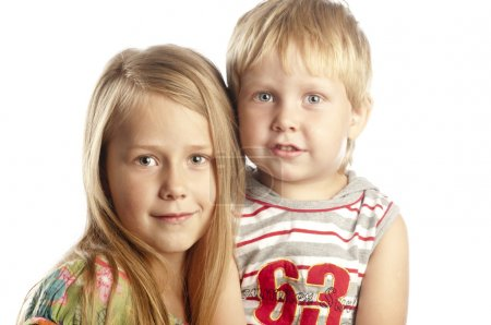 Portrait of little boy and girl