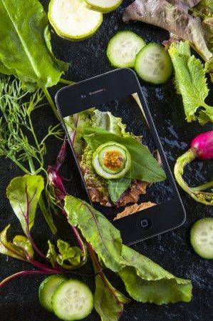 Diet menu photo on smartphone