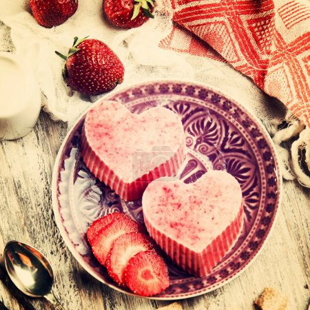 heart shaped ice cream with strawberries