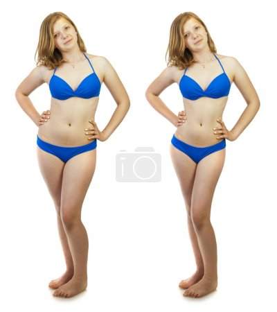 Before and after a diet, girl in swimsuit