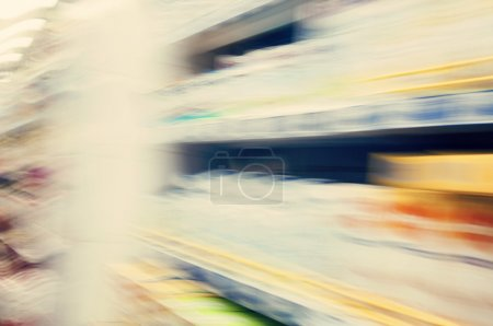 Blurred Interior of supermarket shelves